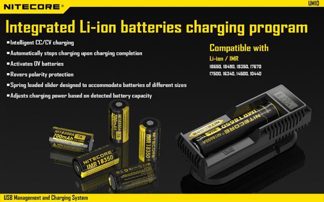 Зарядное устройство NITECORE UM10 LCD универсальное