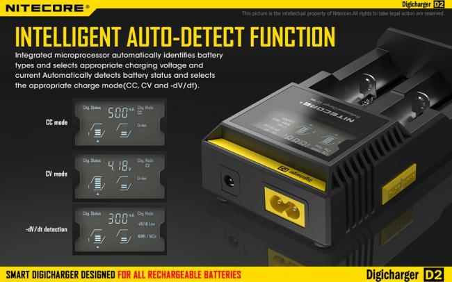 Зарядное устройство NITECORE D2 LCD универсальное